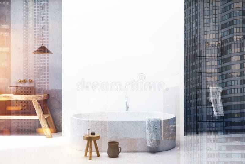 Конкретная и белая ванная комната, круглый тонизированный ушат бесплатная иллюстрация
