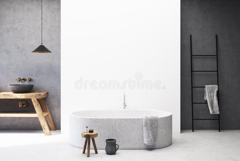 Конкретная и белая ванная комната, круглый ушат иллюстрация штока