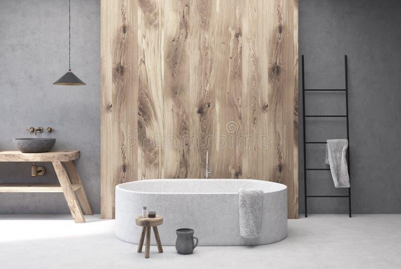 Конкретная и деревянная ванная комната, круглый ушат иллюстрация вектора