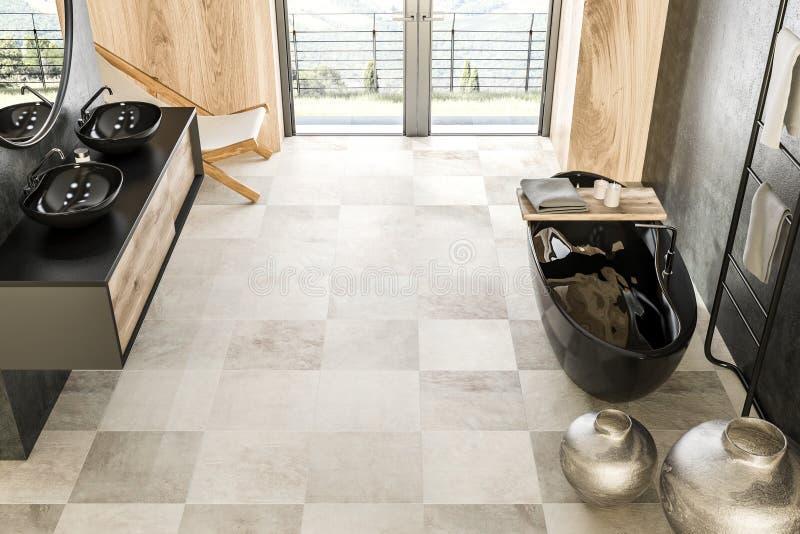 Конкретная и деревянная ванная комната, черный ушат, взгляд сверху иллюстрация штока
