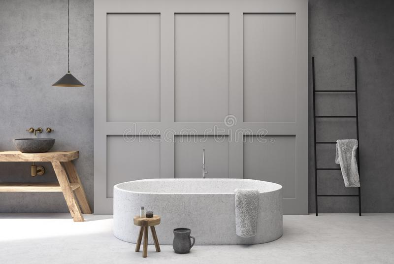Конкретная и серая ванная комната, круглый ушат иллюстрация штока