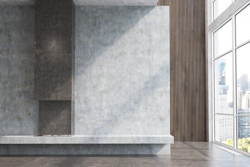 Конкретная и темная деревянная живущая комната, камин бесплатная иллюстрация