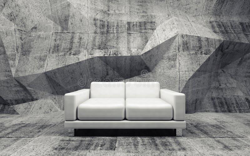 Конкретная комната с софой белой кожи, 3d иллюстрация вектора