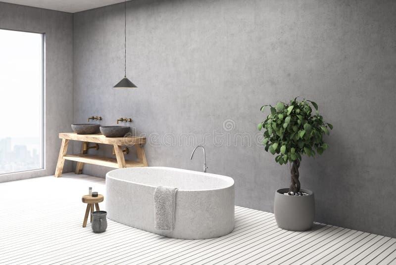 Конкретные интерьер, ушат и раковина ванной комнаты встают на сторону бесплатная иллюстрация