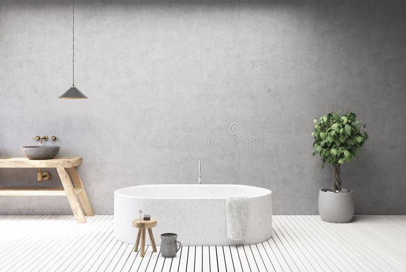 Конкретные интерьер, ушат и раковина ванной комнаты бесплатная иллюстрация