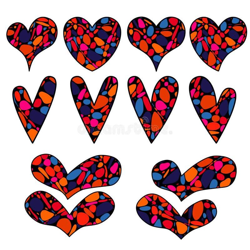 Конкретные объекты вектора в форме сердца в стиле doodle дзэна иллюстрация штока