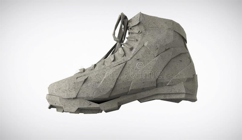 Конкретный диамант резвится ботинки, низкие поли тапки с трудными краями и плоские стороны Резвит метафора достижения фитнеса иллюстрация штока