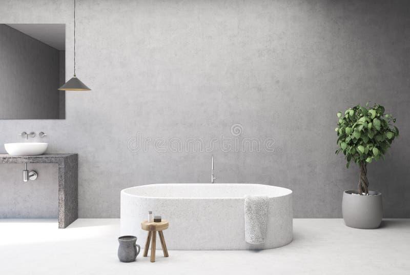 Конкретный интерьер ванной комнаты, ушат иллюстрация вектора