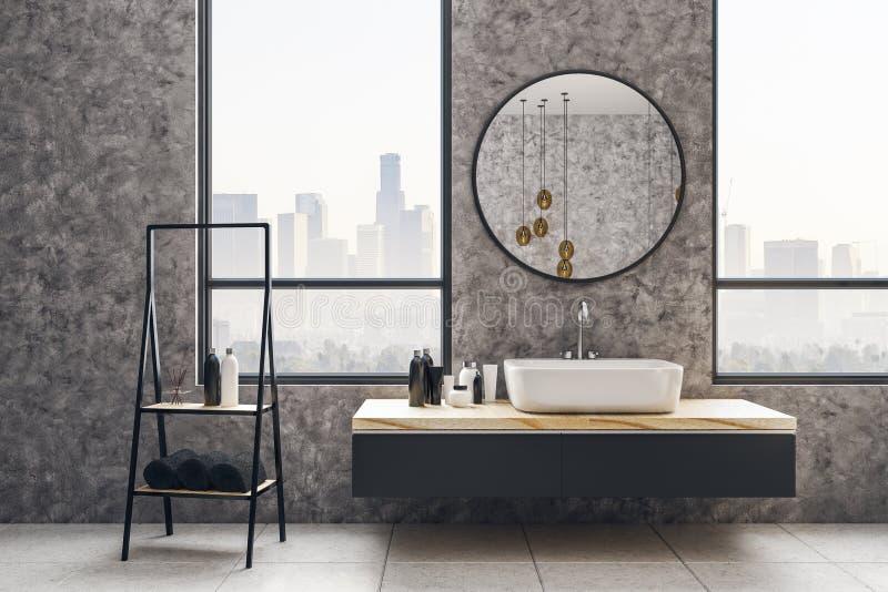 Конкретный интерьер ванной комнаты бесплатная иллюстрация