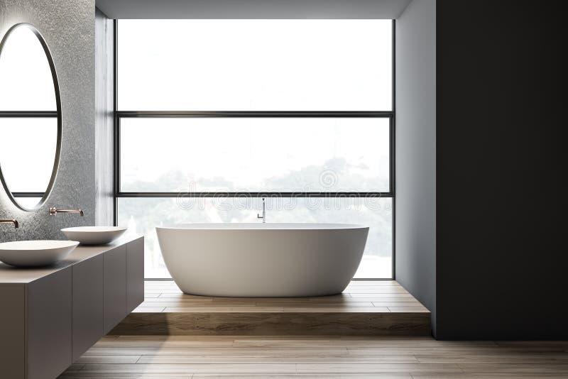 Конкретный интерьер bathroom, двойная раковина и ушат иллюстрация вектора