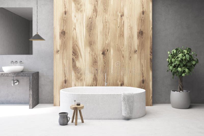 Конкретный и деревянный интерьер ванной комнаты, ушат иллюстрация вектора