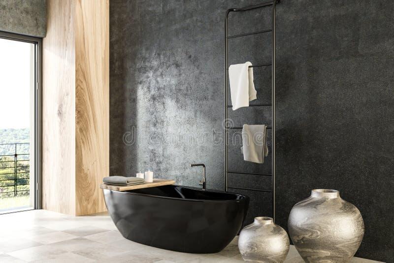 Конкретный и деревянный угол ванной комнаты, черный ушат бесплатная иллюстрация