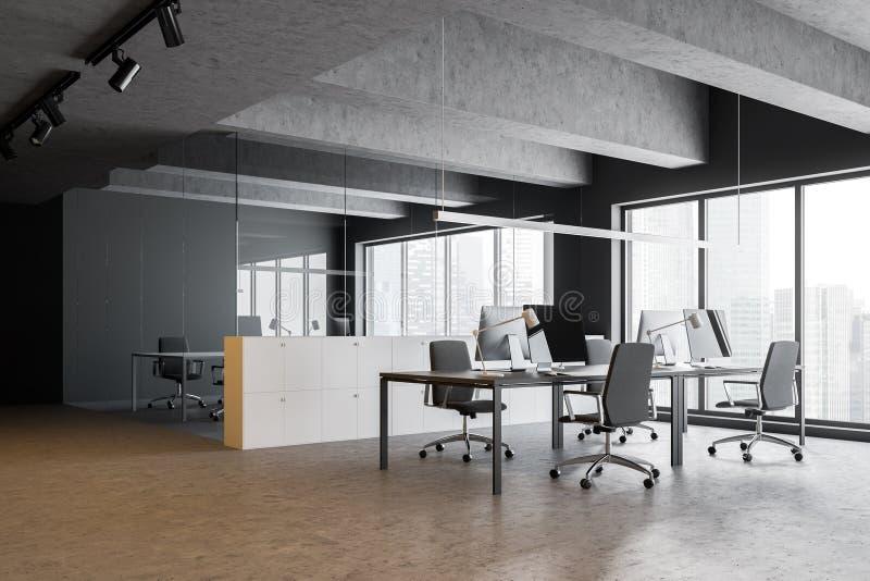 Конкретный и серый офис с конференц-залом иллюстрация вектора