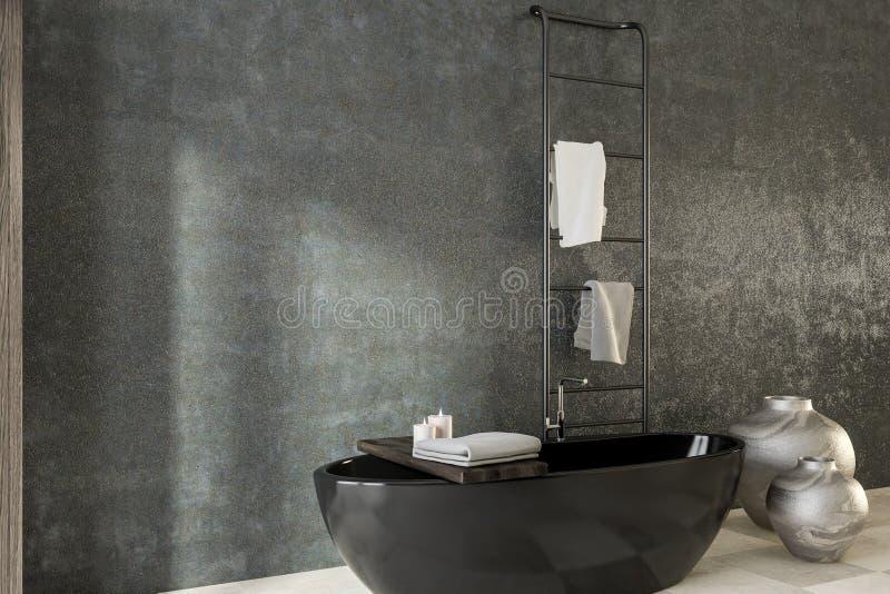 Конкретный угол ванной комнаты, черный ушат иллюстрация вектора