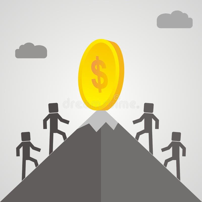 Конкуренты взбираются гора для того чтобы получить деньги, успешный b иллюстрация штока