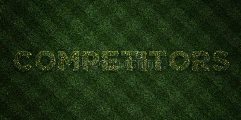 КОНКУРЕНТЫ - свежие письма травы с цветками и одуванчиками - представленное 3D изображение неизрасходованного запаса королевской  иллюстрация вектора
