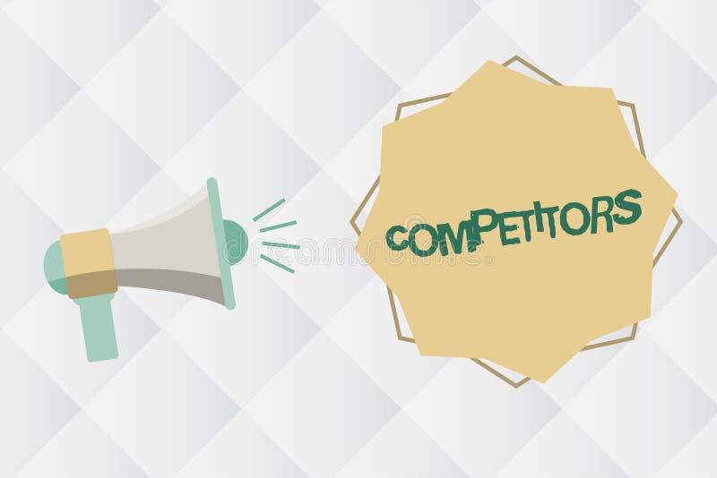 Конкуренты текста почерка Люди смысла концепции принимать конкуренция рекламы спортивного состязания иллюстрация вектора