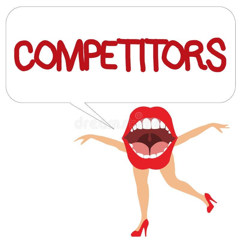Конкуренты текста сочинительства слова Концепция дела для людей принимать конкуренция рекламы спортивного состязания иллюстрация вектора