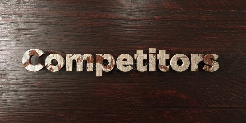 Конкуренты - grungy деревянный заголовок на клене - представленное 3D изображение неизрасходованного запаса королевской власти иллюстрация вектора