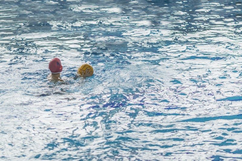 Конкуренция водного поло в бассейне для детей и подростков стоковая фотография rf