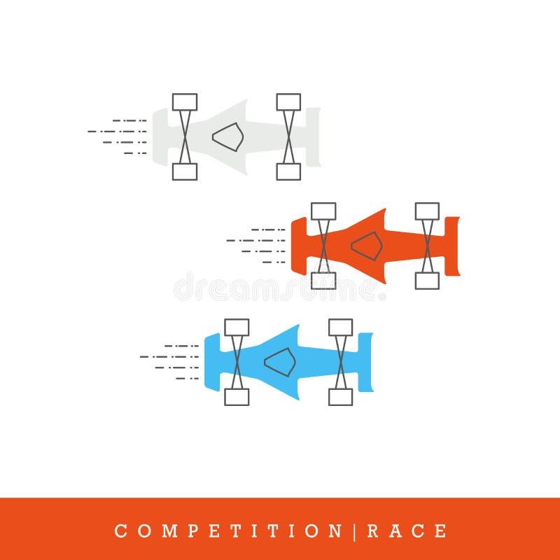 Конкуренция, комплект значка вектора взгляд сверху гоночных машин иллюстрация вектора