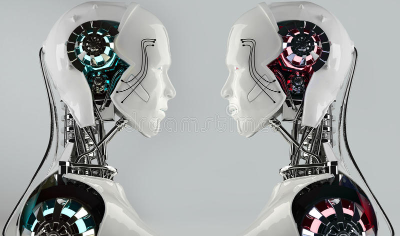 Конкуренция людей android робота иллюстрация вектора
