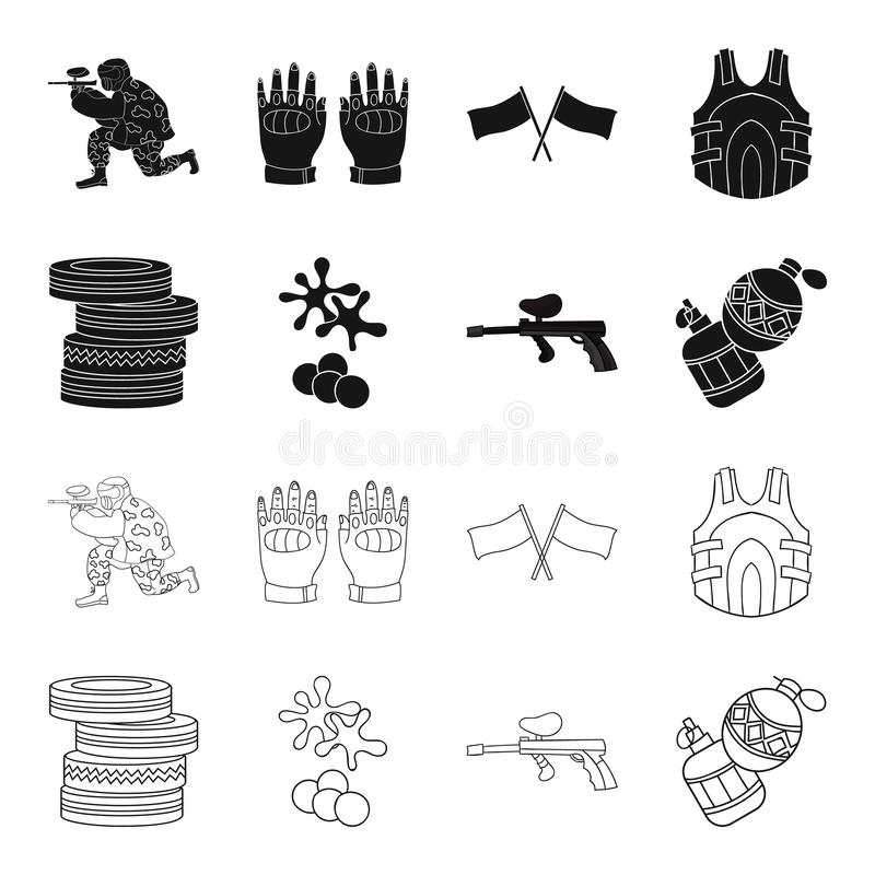 Конкуренция, состязание, оборудование, автошины Значки в черноте, запас собрания пейнтбола установленные символа вектора стиля пл иллюстрация штока