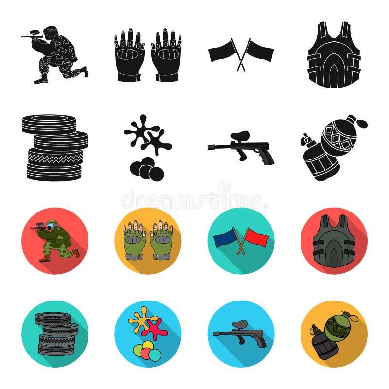 Конкуренция, состязание, оборудование, автошины Значки в черноте, запас собрания пейнтбола установленные символа вектора стиля fl иллюстрация штока