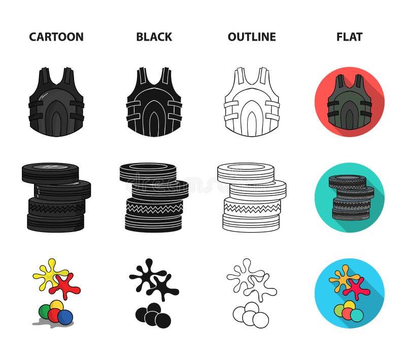 Конкуренция, состязание, оборудование, автошины Значки собрания пейнтбола установленные в шарже, черноте, плане, плоском символе  бесплатная иллюстрация