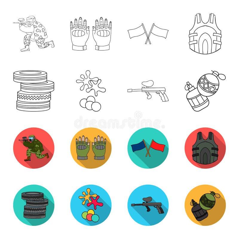 Конкуренция, состязание, оборудование, автошины Значки собрания пейнтбола установленные в плане, плоском запасе символа вектора с бесплатная иллюстрация