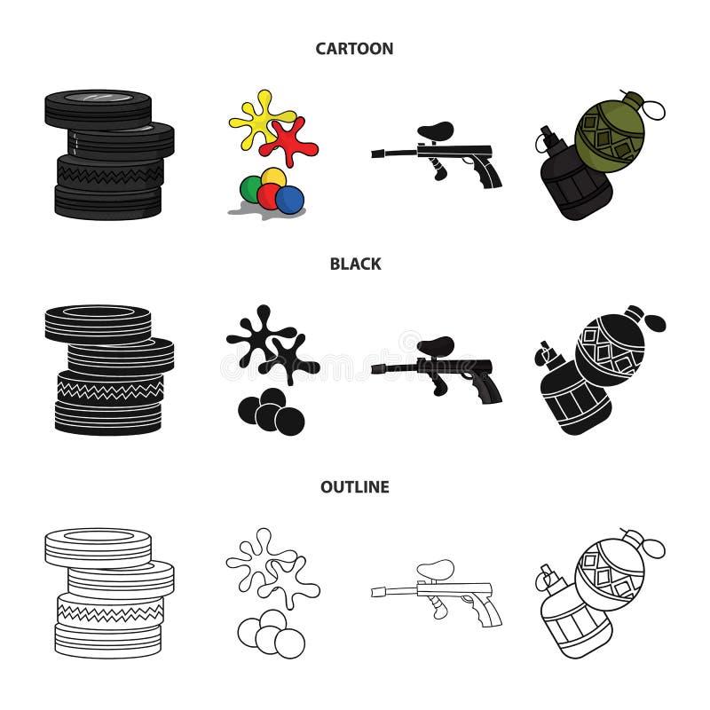 Конкуренция, состязание, оборудование, автошины Значки собрания пейнтбола установленные в шарже, черноте, символе вектора стиля п бесплатная иллюстрация