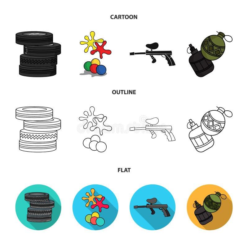Конкуренция, состязание, оборудование, автошины Значки собрания пейнтбола установленные в шарже, плане, плоском запасе символа ве иллюстрация вектора