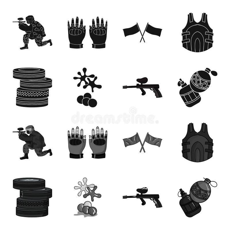 Конкуренция, состязание, оборудование, автошины Значки собрания пейнтбола установленные в черном, monochrome запасе символа векто иллюстрация штока