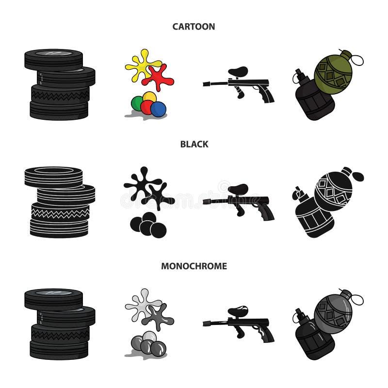 Конкуренция, состязание, оборудование, автошины Значки собрания пейнтбола установленные в шарже, черноте, monochrome символе вект иллюстрация штока