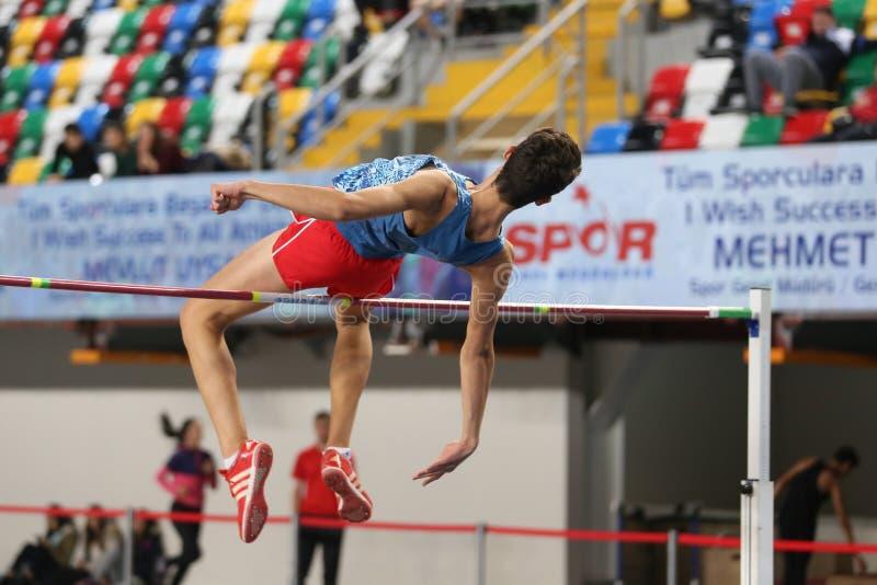 Конкуренция турецкого атлетического порога федерации олимпийского крытая стоковые фотографии rf