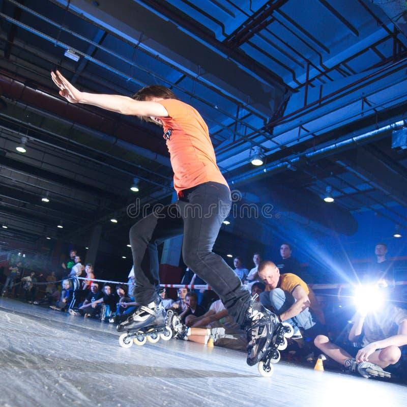 Конкуренция Rollerblading стоковое изображение rf