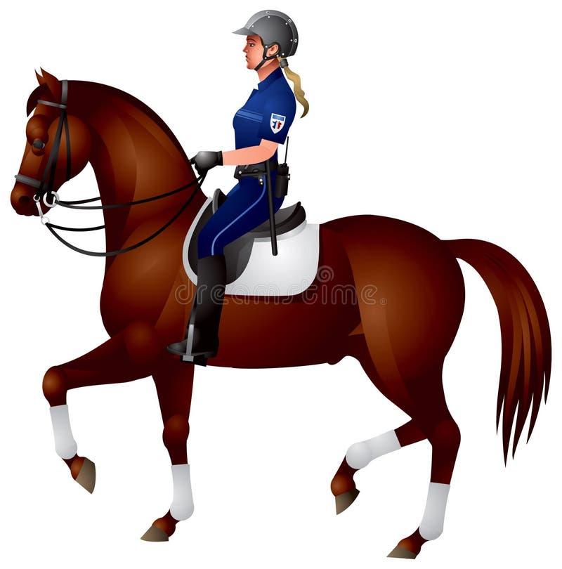 конная полиция лошади девушки иллюстрация вектора