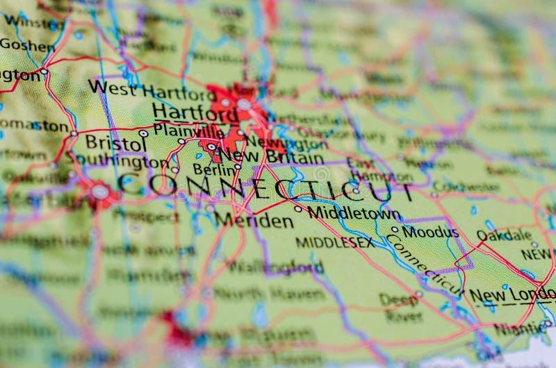 Коннектикут на карте стоковое фото