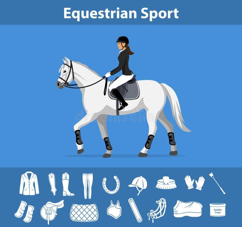 Конноспортивные спорт с тэксом horseriding иллюстрация вектора