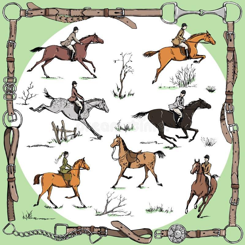 Конноспортивный узловой шпангоут с стилем английского языка всадников лошади на звероловстве ландшафта и лисы спорта иллюстрация штока