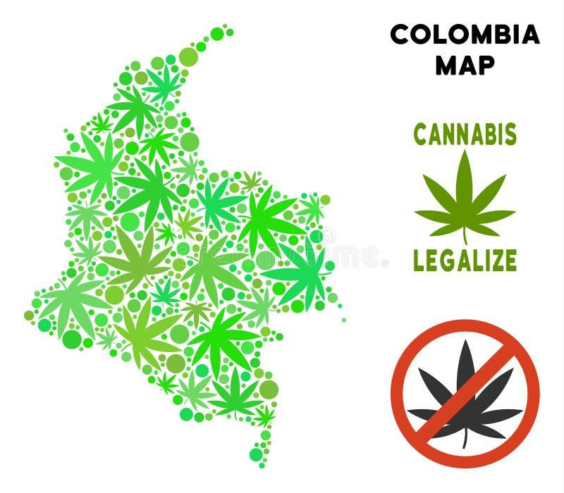 Конопля королевской власти свободная покидает карта Колумбии мозаики бесплатная иллюстрация