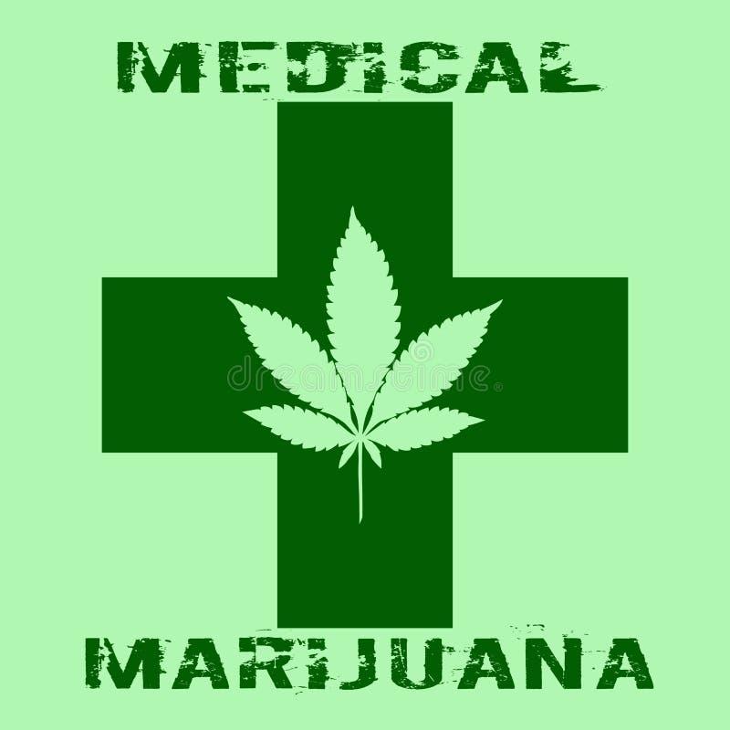 Конопли листают в абстрактном стиле с зеленым крестом и марихуаной слов медицинской иллюстрация штока