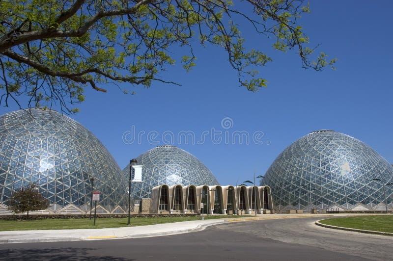 консерватория придает куполообразную форму: wi mitchell milwaukee стоковое изображение