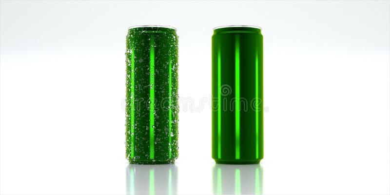 Консервная банка зеленого цвета модель-макета алюминиевая стоковые изображения rf
