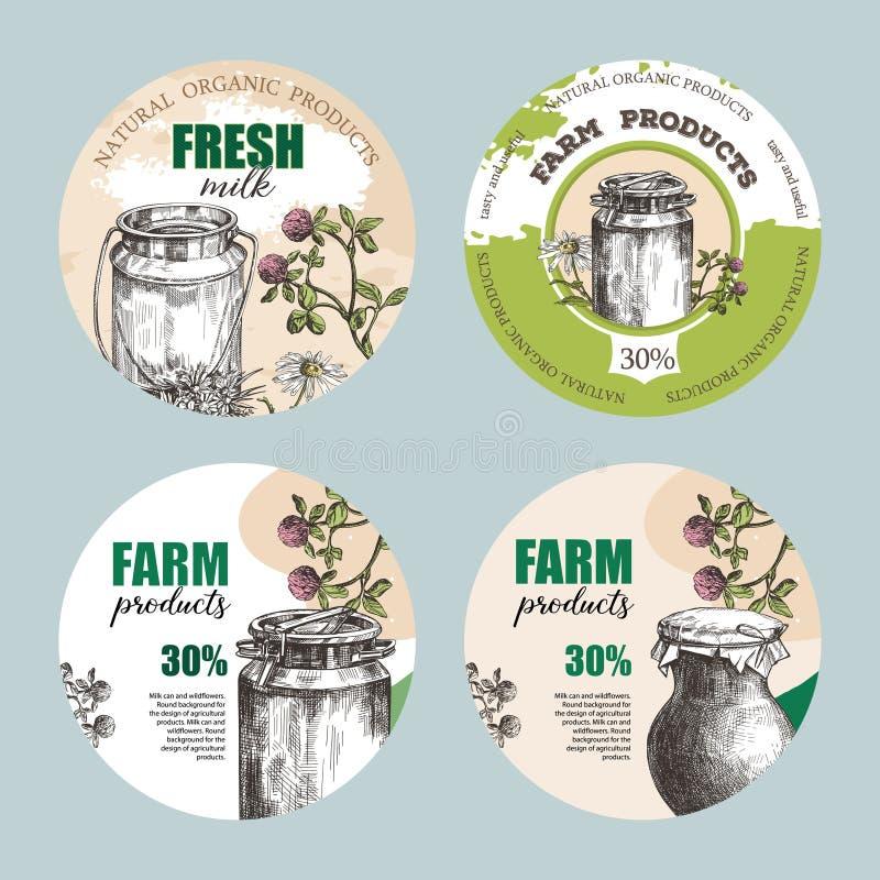 Консервная банка молока, землистый опарник и wildflowers Установите круглых предпосылок стоковое изображение