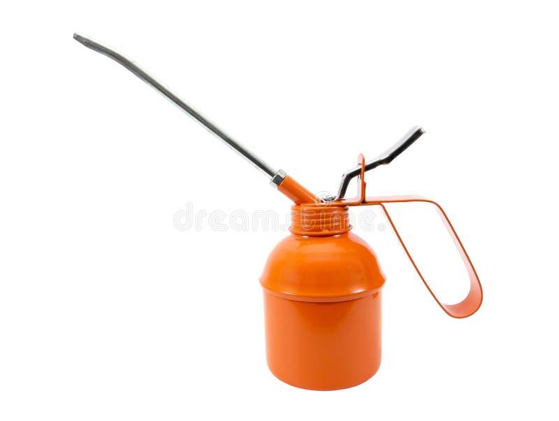 Консервная банка оранжевого масла изолированная на белой предпосылке Изолированная консервная банка масла стоковое изображение