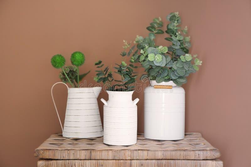 Консервные банки и кувшин воды с зелеными растениями на плетеном комоде против стены цвета стоковое фото rf
