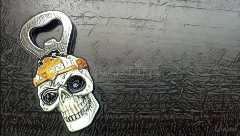 Консервооткрыватель бутылки в форме черепа ` s Templar стоковое изображение rf