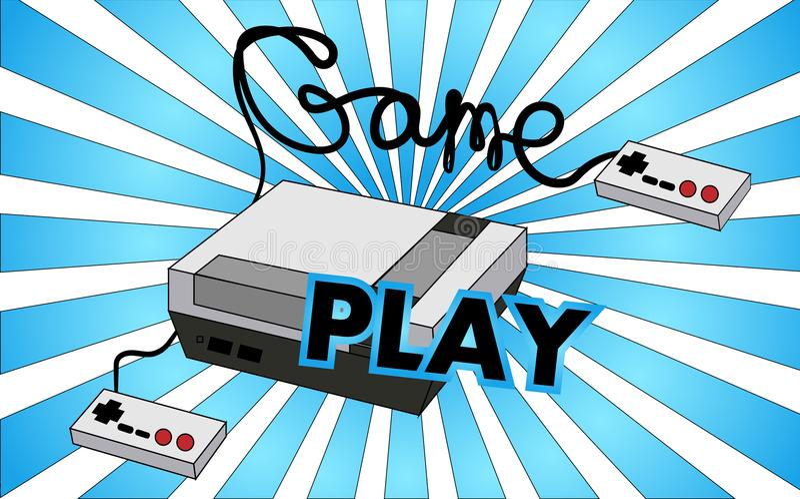 Консоль игры старого винтажного ретро битника античные для видеоигр с кнюппелями и gameplay на предпосылке иллюстрация вектора