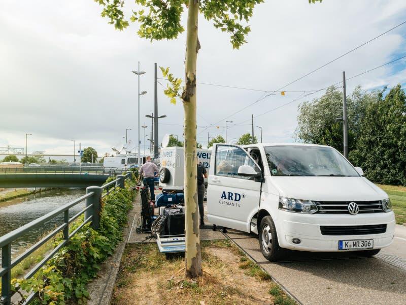 Консорциум общественных передатчиков в тележке Германии ARD на e в реальном маштабе времени стоковое изображение